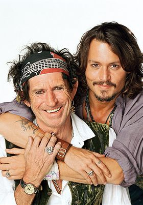 Keith Richards and Johnny Depp behind the scenes of Pirates of The Caribbean