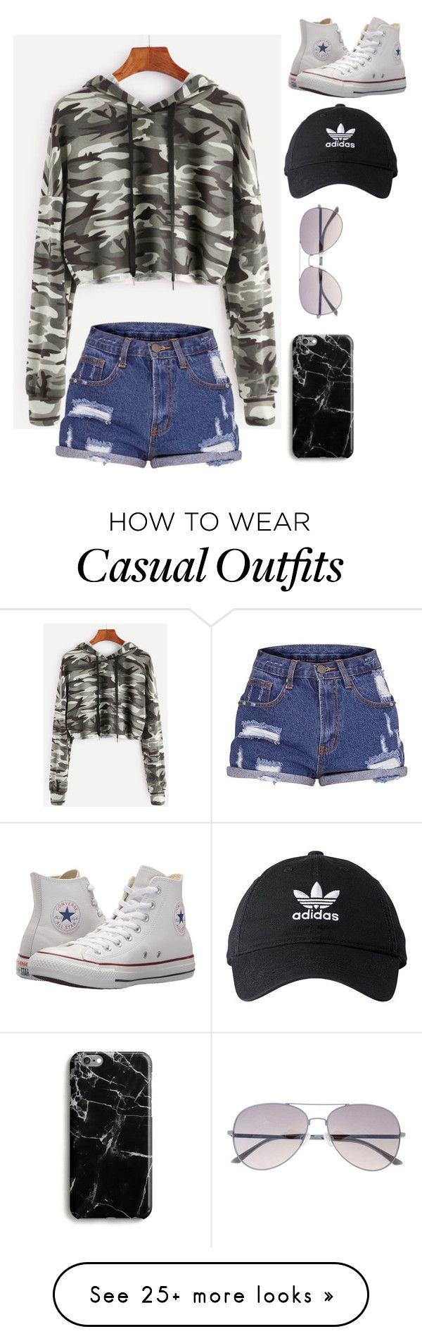 """Casual Camo."" by unicornpoop679 on Polyvore featuring Samsung, adidas and Converse"