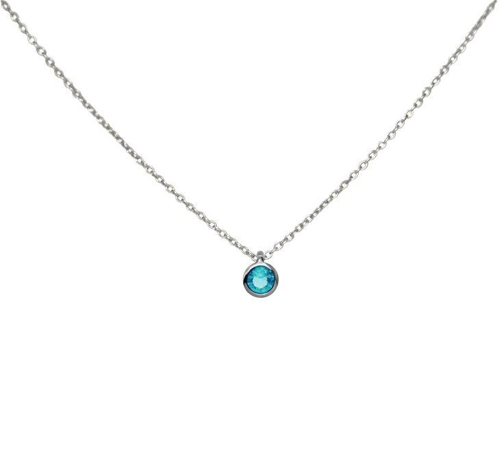 Silver Round Aquamarine Gemstone Necklace