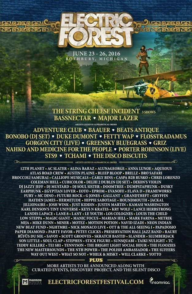 Electric Forest 2016 Lineup!!!!