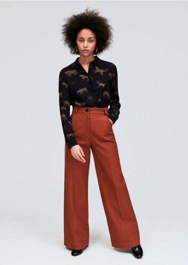 Femme Caramel 1 Mode Coton Pantalon Tara Évasé En Jarmon ZBa5I5wOqW aa7f2821ed4