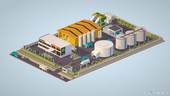 Isometric 3d model Waste Recycling Plant  Fully customizable 3D