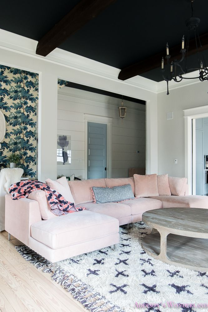 "Our New Blush Jonathan Louis Sectional! - Addison's Wonderland Our Colorful ""Fresh"" Vintage Living & Dining Rooms... A fresh vintage space featuring a stunning blush sectional from Jonathan Louis Furniture as well as powder blue walls & doors, wallpaper, black ceiling, wood beams, craftsman details and black iron chandelier. @jlfurniture! #sponsored"