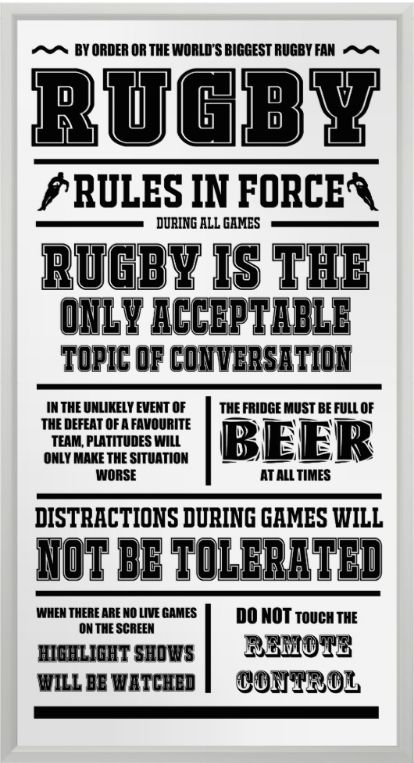 Rugby Rules In Force Poster.  Large rugby poster for the keen follower of the game. Printed on semi-gloss poster paper https://www.zazzle.com/rugby_rules_in_force_poster-228347767415707673 #rugby #sports #posters #humor #rugbyunion