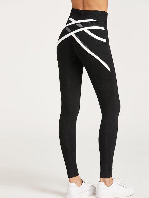 60c6d94a42 Contrast Trim Crisscross Mesh Back Leggings -SheIn(Sheinside) | ms Nguyen active  wear | Ropa deportiva, Ropa deportiva mujer, Ropa gym