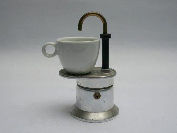 Mini Italian moka coffee espresso BIALETTI maker, To put on stove-top, For one cup, Model Mini Express 1 Tazza, Vintage 1970s