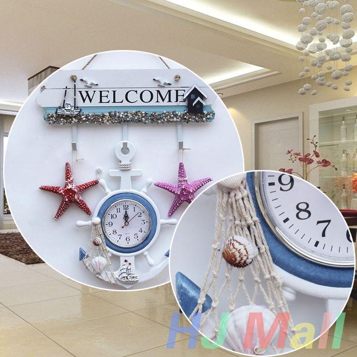 Decorative Wooden Mediterranean-Style Retro Sea Anchor Small Alarm Clock Gift