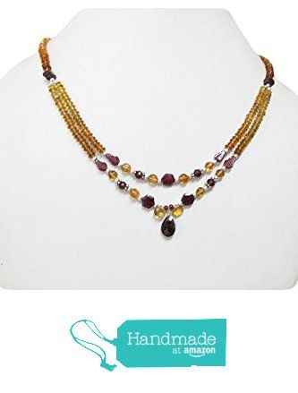 "Gemstone Garnet & Citrine Beads Necklace with Sterling Silver Findings 16"" by Anushruti from anushruti https://www.amazon.com/dp/B01K5C37HK/ref=hnd_sw_r_pi_dp_NNQvyb939QDGV #handmadeatamazon"