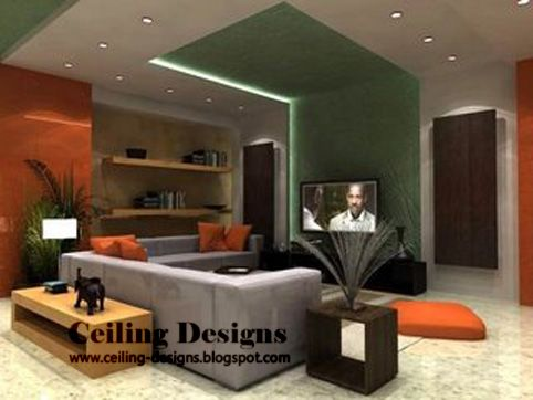 Modern Living Room Design on Green False Ceiling Designs For Living Room Made From Gypsum With