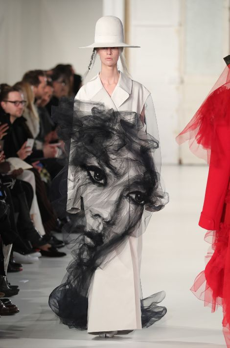 This breathtaking look from the Maison Margiela show featured tulle detailing that created literal art on the model.