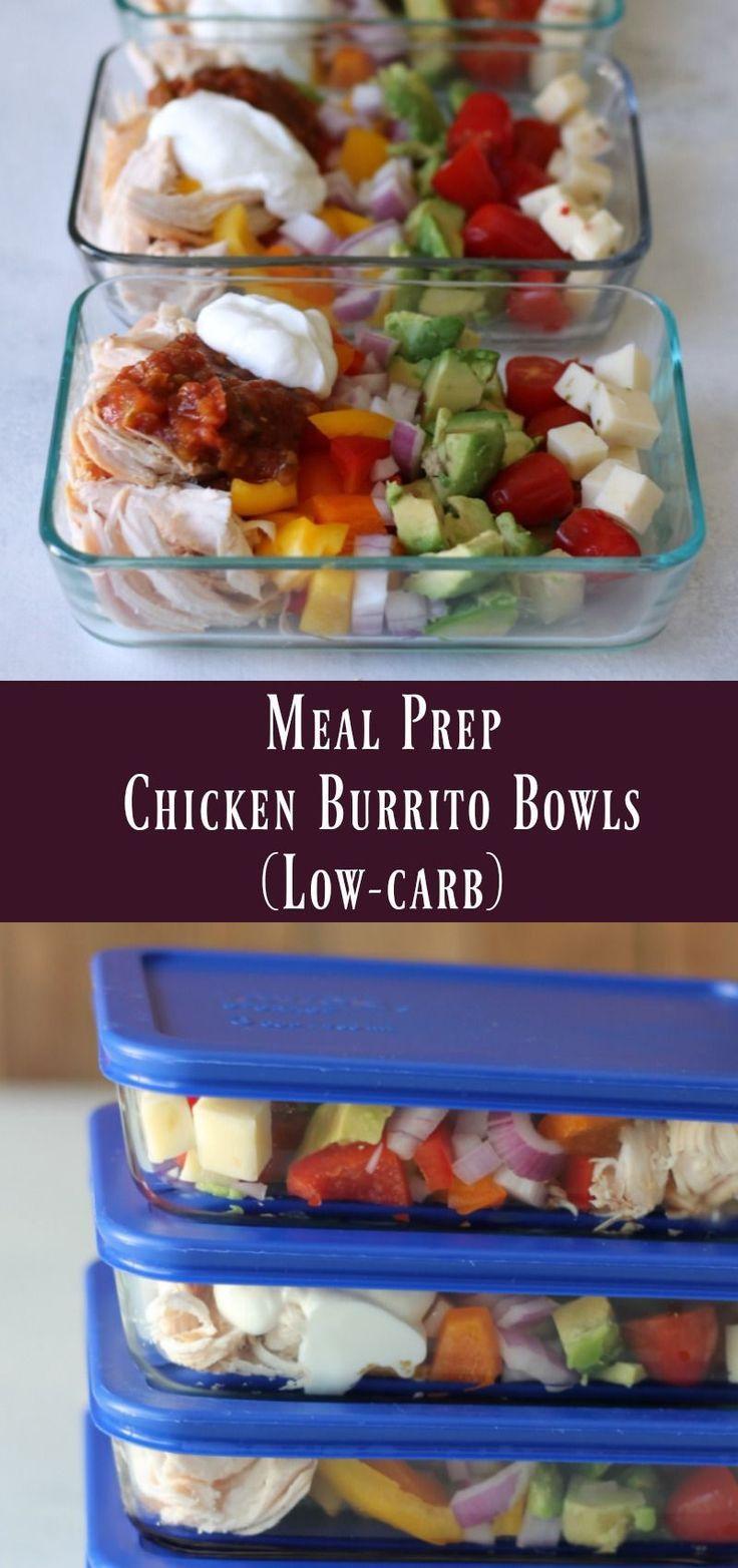 Mehlvorbereitung Low-Carb Chicken Burrito Bowls  #keto #ketomealprep