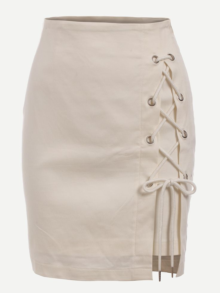 Eyelet Lace-Up Skirt — 0.00 € -----------------------------------color: White size: L