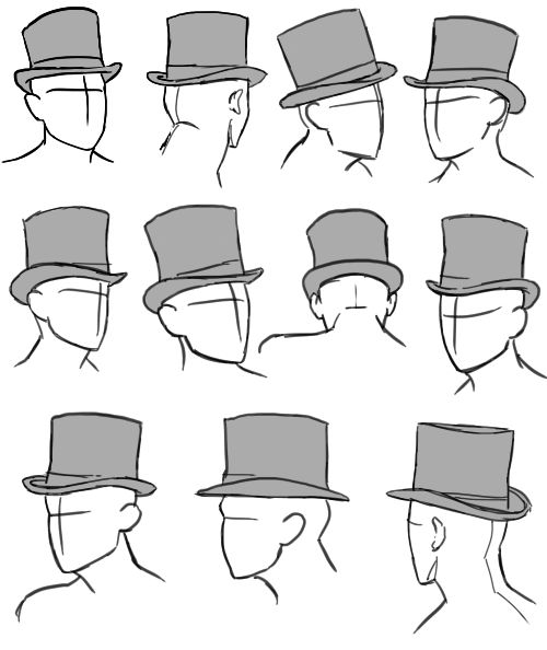 Clothing tutorials and references, Top Hats — Character Design References —  Find more drawing references boards @apartado624