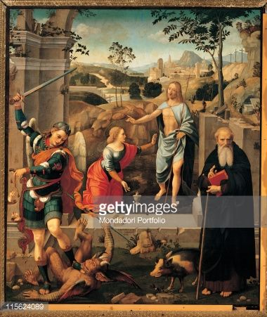 Fine art : Christ appearing to Mary Magdalene, St Michael Archangel and St Anthony Abbot (Noli Me Tangere), by Viti Timoteo, 1512 - 1519, 16th Century, Tavola