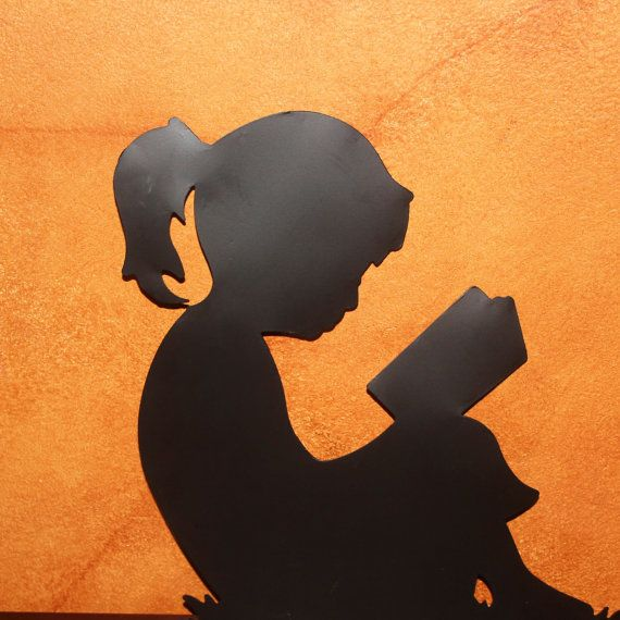 Photograph / Silhouette of Young Girl Reading a Book on Etsy, $16.50 ... Children Reading Silhouette