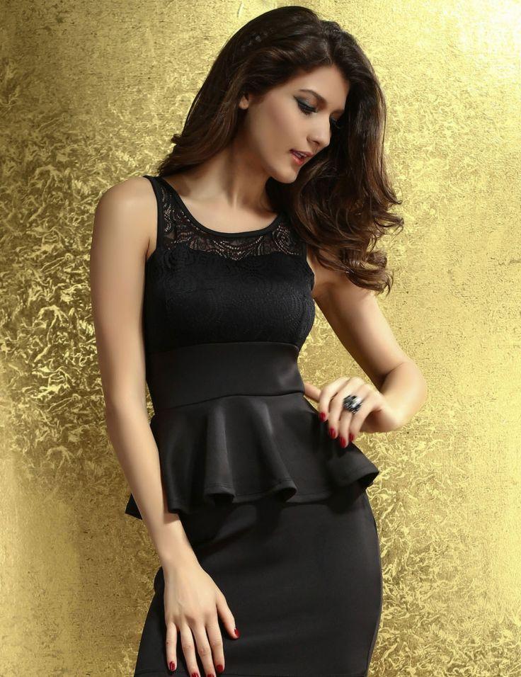 Terrific Paisley Lace Peplum Dress Black