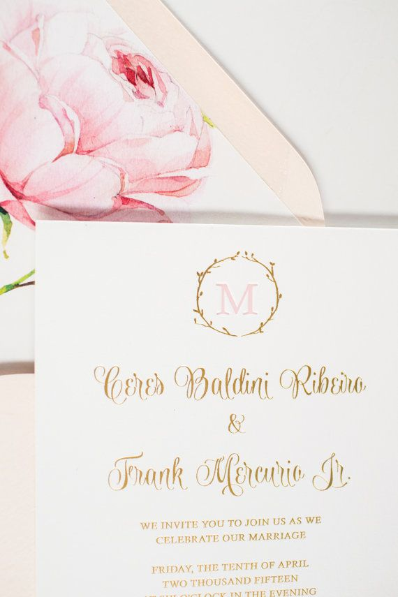 size of response cards for wedding invitations%0A Peony Custom Letterpress  Foil Gold Wedding Invitations    Custom Design  and Wording    Any Colors    Invitation  Response Card