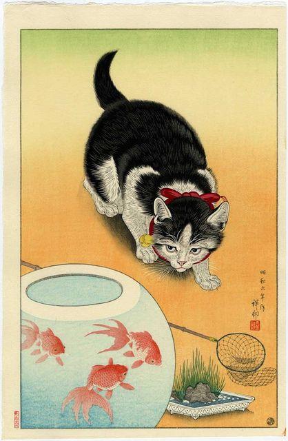 Art, Ukiyoe, Woodblock Print, Japan, Animal, Cat, Fish.