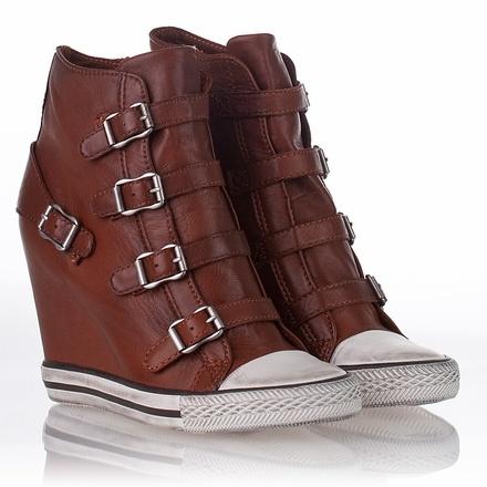 ASH Women's United Wedge Sneaker Dark Camel Leather High-Top