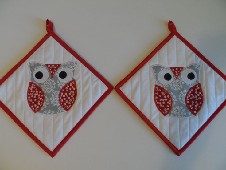 Pot holders, hot pads, trivets, set of 2, owls, modern, contemporary, owl, insulated, gray, red, white, grey by SusansPassion on Etsy