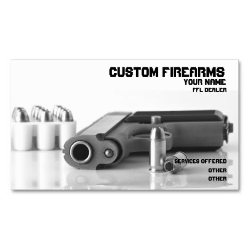 Black and White firearms ffl dealer Business card. Make your own business card with this great design. All you need is to add your info to this template. Click the image to try it out!