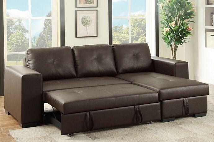 poundex 6930 1 2 pc everly espresso faux leather sectional sofa set rh pinterest ca