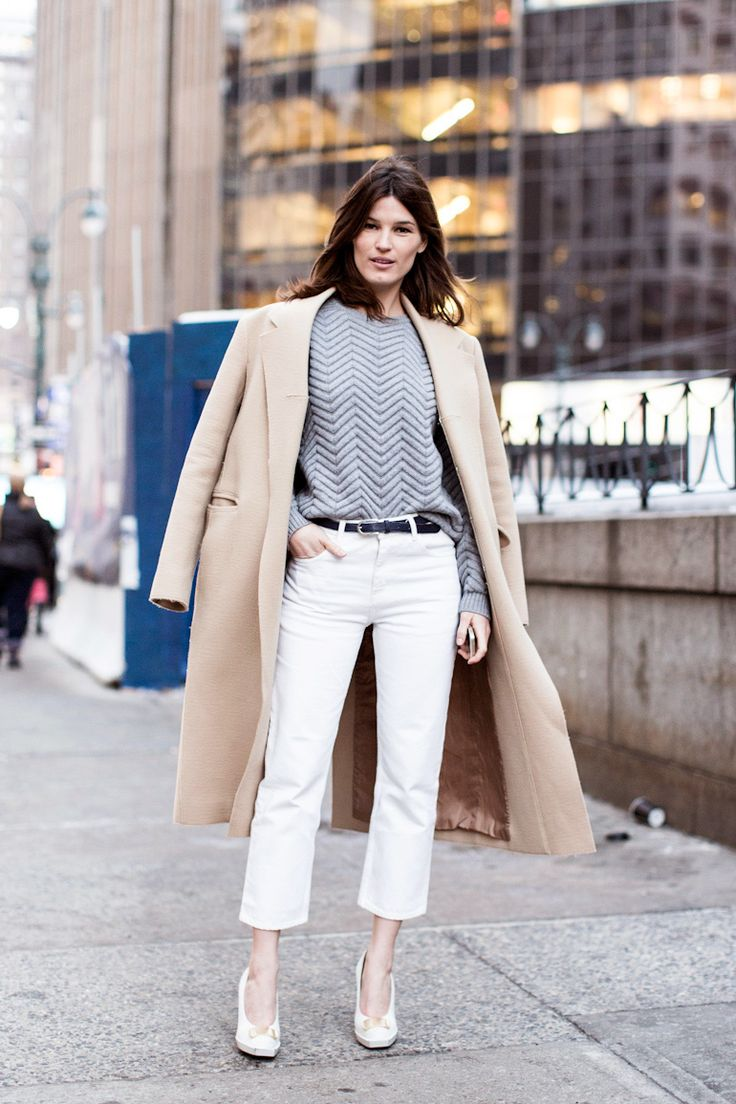 Spring is here, almost! Pair your favorite pair of white jeans with a tucked in textured sweater to make the transition easy.