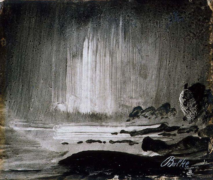 Peder Balke, Nordlys over klippekyst, olje på papir oppklebet på papp-plate, ca. 1870.