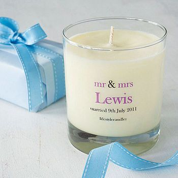 "This is a cheap but good wedding favour. To be honest though,  I wouldn't include the wedding information but would have something simple like ""love"" printed on the glass in the wedding colours. This means the candle will be more likely to be used as it is much more universal piece."