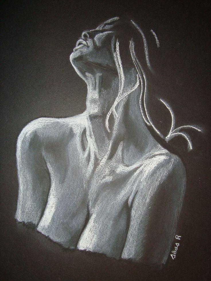 Dibujo realizado en carboncillo y tiza blanca, sobre papel Canson negro.