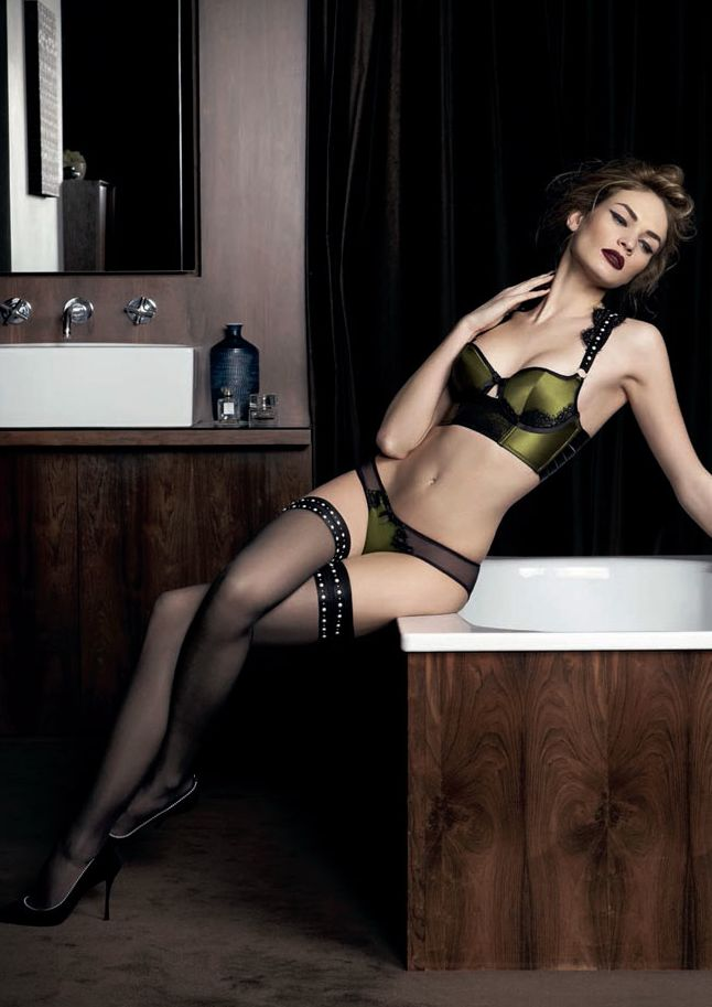 Olive and black really working well together to give this piece a depth and sensuality.