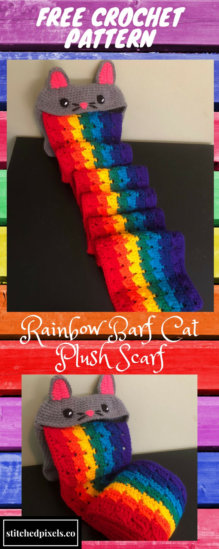 Part cat amigurumi, part rainbow scarf, all adorable! Use this free crochet pattern to make your own Rainbow Barf Cat Plush Scarf.