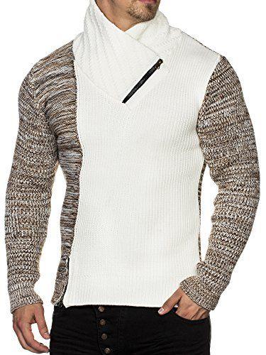 TAZZIO Herren Styler Grobstrick Pullover mit Zipper Kragen