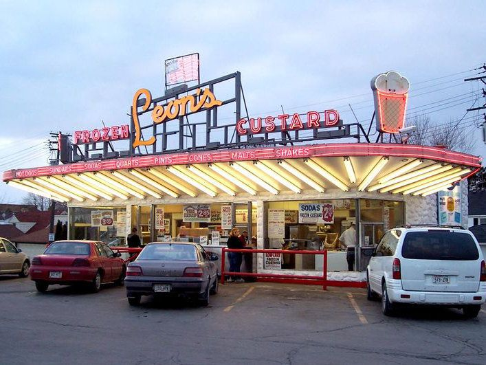 """Leon's Frozen Custard is a classic 1950s-style family owned drive-in. It opened in 1942 and is considered a landmark in the city of Milwaukee.  Leon's has won Milwaukee Magazine's """"Best Of"""" category for several years.  http://www.leonsfrozencustard.us/"""
