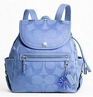 Coach Signature Periwinkle Blue Patent Leather Daisy Backpack Purse