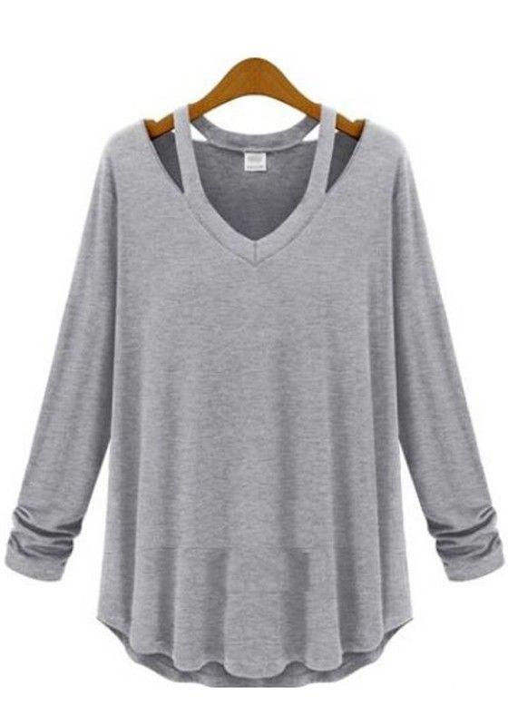 927d44741f9b5 Comfy and Stylish Light Grey Plain Hollow-out Long Sleeve Cotton T-Shirt   comfy  stylish  weekend wear  sweatshirt…