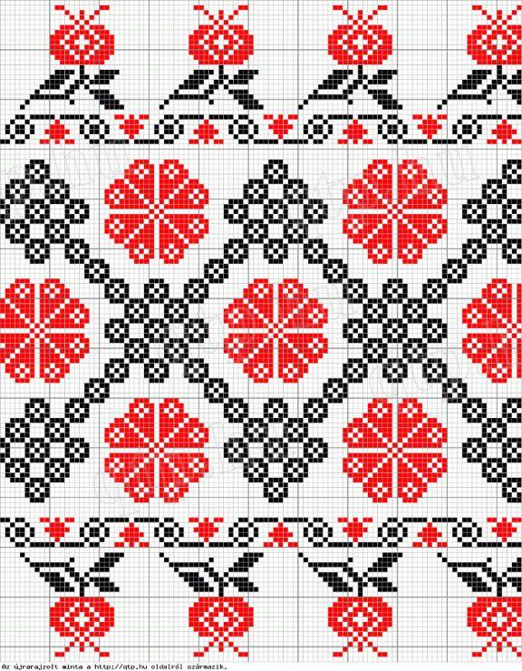 Bi-Color Folk Art Cross Stitch Edging