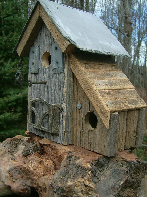 Birdhouse Primitive Coastal With Slate Roof by Birdhousesandbuds, $89.00