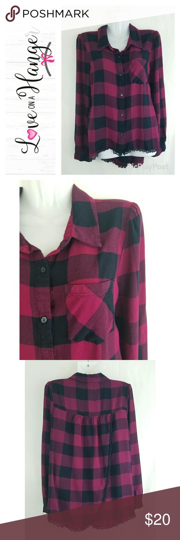 NAME YOUR PRICE Plaid Crochet Trim Tulip Back Top Love on a hanger boutique brand adorable pink and black plaid button up shirt featuring crochet trim, tulip back, and hi-lo style hem. Great pre-owned condition, no visible flaws. love on a hanger Tops Button Down Shirts