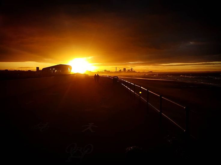 Sunset over the steel works. #sunset #steelworks #redcar #majuba #waves