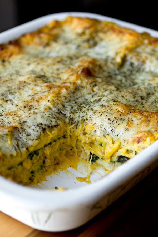 Autumn Lasagna with Creamy, Butternut Squash and Roasted Garlic Sauce, Seasoned Ground Turkey, Sage, Spinach and Mozzarella Cheese