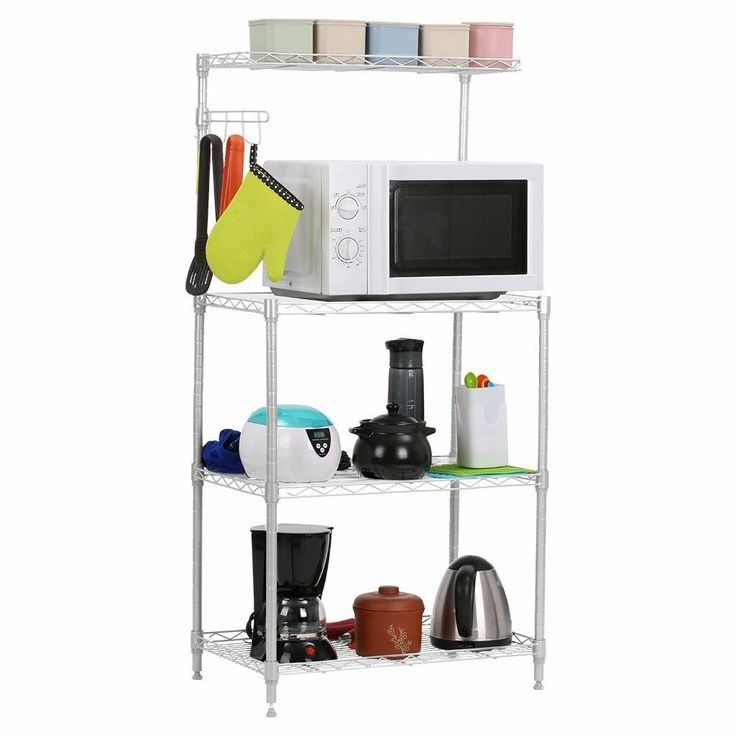 New 4 Tier Kitchen Rack Microwave Oven Stand Storage Cart