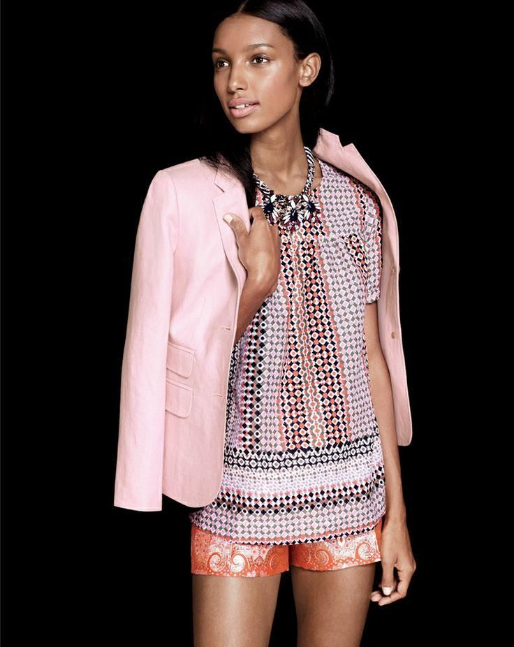 J.Crew pink geo top, Collection gilded brocade short, Persian leaves necklace. To preorder call 800 261 7422 or email erica@jcrew.com.