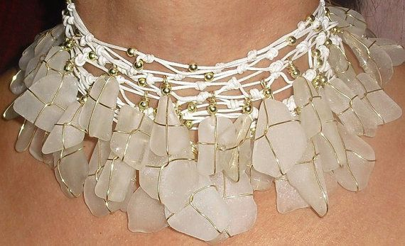 White Sea Glass choker by Analubags on Etsy, $85.00