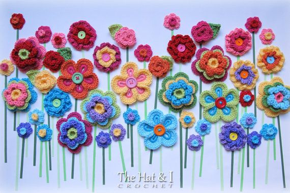 CROCHET PATTERN Floral Fantasy 5 yummy flowers and door TheHatandI