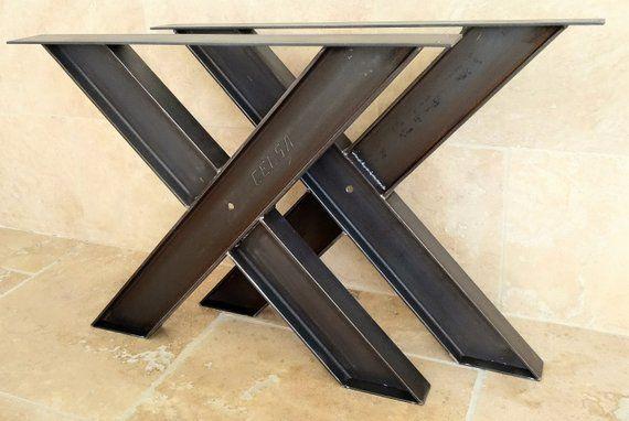 Pied De Table En Ipn Dimensions Largeur 80cm Hauteur 69cm Ipn De 100 Finition Verni Mat Avec Patin De Protectio Steel Table Legs Wood Table Design Table Legs