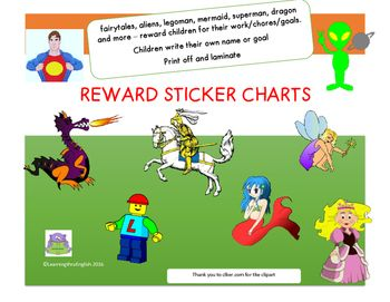Need to reward those gorgeous children in your class or at home...try these original colourful and fun reward sticker charts - 14 different charts - 30 squares eachand 2 bonus fairies with 15 blank sticker spotsIncludes:LegomanSuperheroCastleMermaidPrincesses (2 different)DragonKnight on horseButterflyAlien Fairies x 2 plus 2 fairies with 12 sticker spots 12 different reward charts Each chart will fit 30 small spot stickers or square stickers Children write their own name or goal in the box…