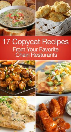 17 Copycat Recipes From Your Favorite Chain Restaurants including Carrabba's, Applebee's, Cheesecake Factory, Chili's, Olive Garden, Starbucks, Boston Market, Bonefish Grill, P. F. Chang's, Red Lobster, Shake Shack, Macaroni Grill, Outback, and Panda Express