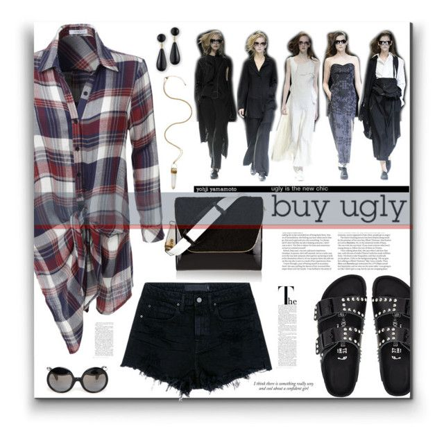 """""""Buy Ugly"""" by fassionista ❤ liked on Polyvore featuring Birkenstock, LE3NO, Yohji Yamamoto, NewbarK, Kenneth Jay Lane, Alexander Wang, ASOS, Haze, plaid and birkenstock"""