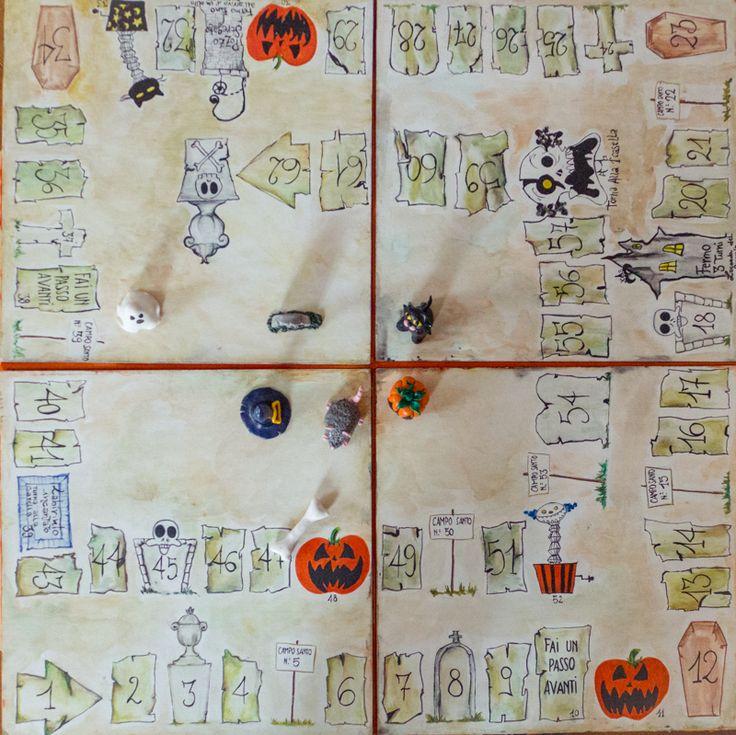 Il gioco dell'oca è un semplice percorso a 63 caselle. Alcune di queste caselle rappresentano delle insidie per i giocatori e la sorte, sotto forma di dadi da gioco, decide il destino di ognuno; vince chi arriva primo all'ultima casella. Io ho deciso d'ispirarmi al classico tabellone del gioco dell'oca e reinterpretarlo secondo i tipici temi di Halloween: zucche, monumenti tombali e scheletri. http://www.estrattodivaniglia.com/1250/gioco-da-tavola-per-un-party-di-halloween-in-casa/